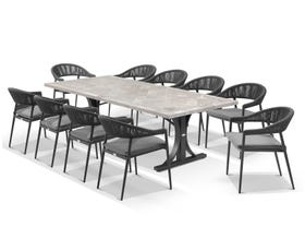 Luna 250cm Table with Nivala Chairs 11pc Outdoor Dining Setting