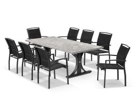 Luna 220cm Table with Verde Chairs 9pc Outdoor Dining Setting