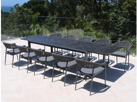 Mona Ceramic Extension Table with Nivala Chairs 11pc Outdoor Dining Setting