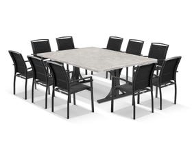 Luna 210cm Table with Verde Chairs 11pc Outdoor Dining Setting