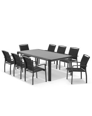 Tellaro Ceramic Table with Verde Chairs 9pc Outdoor Dining Setting