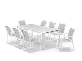 Tellaro Ceramic Extension Table with Verde Chairs -11pc Outdoor Setting