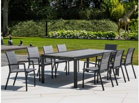 Mona Ceramic Extension Table with Sevilla Padded Chairs -13pc Outdoor Dining Setting