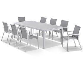 Hague Extension table with Sevilla Chairs  - 11pc Outdoor Dining Setting
