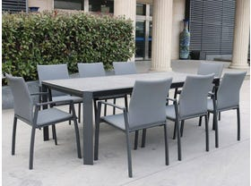 Tellaro Ceramic Extension Table with Palmetto Dining Chairs -13pc Outdoor Dining Setting
