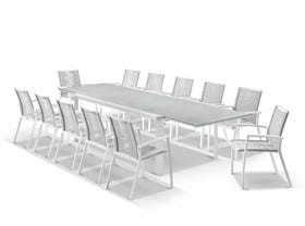 Tellaro Ceramic  Extension Table With Sevilla Rope Chairs 13pc Outdoor Dining Setting