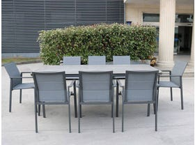 Leros Ceramic Table with Meribel Dining Chairs -9pc Outdoor Dining Setting- VIC ONLY