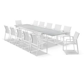 Tellaro Ceramic Extension Table With Meribel Chairs 13pc Outdoor Dining Setting