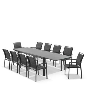 Tellaro Ceramic Extension Table With Verde Chairs 11pc Outdoor Dining Setting