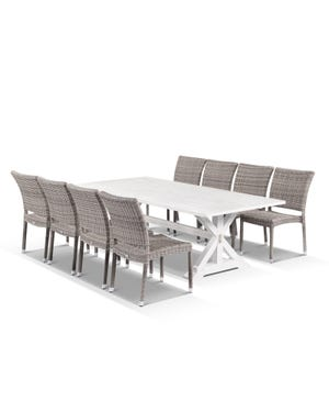 Vogue Table with Lucerne Chairs 9pc Outdoor Dining Setting