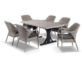 Luna 165cm Table with Essex Chairs -7pc Outdoor Dining Setting