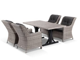 Luna 165cm Table with Somerset  Chairs -5pc Outdoor Dining Setting