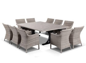 Luna 210cm Table with Maldives Chairs -11pc Outdoor Dining  Setting
