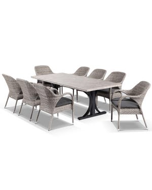 Luna with 220 x 100 with Essex Chairs -9pc Dining Setting