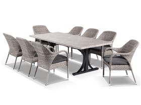 Luna 220cm Table with Essex Chairs -9pc Outdoor Dining Setting