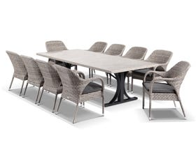 Luna 250cm Table with Essex Chairs -11pc Outdoor Dining Setting