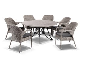 Luna 140cm Round Table with Essex Chairs -7pc Outdoor Setting