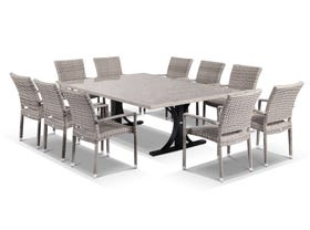 Luna 210cm  Table with Lucerne Chairs -11pc Outdoor Dining Setting