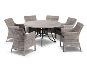Luna 140cm Round Table with Maldives Chairs -7pc Outdoor Dining Setting
