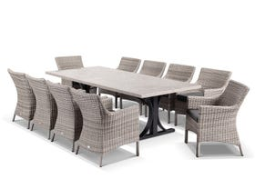 Luna 250cm Table with Maldives Chairs -11pc Outdoor Dining Setting
