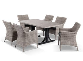 Luna 165cm  Table with Maldives Chairs -7pc Outdoor Dining Setting