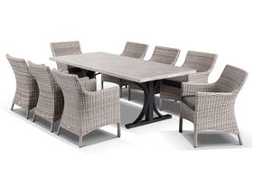Luna 220cm Table with Maldives Chairs -9pc Outdoor Dining Setting