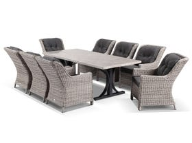 Luna 220cm Table with Somerset Chairs -9pc Outdoor Dining Setting