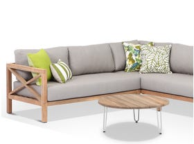 Hampton 5 Seater  Teak Outdoor Modular Lounge Setting