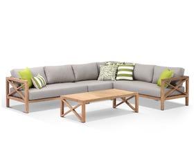 Hampton 6 Seater  Teak Outdoor Modular Lounge Setting
