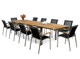 Marseille 340 Extension table with Pacific Chairs - 11pc Outdoor Setting - NSW ONLY