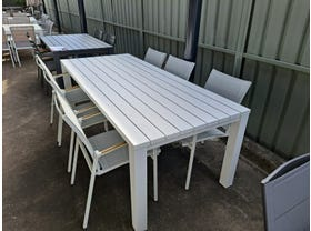 FLOOR MODEL - Adele 220x95cm Table with Pacific Dining chairs 7pc Set