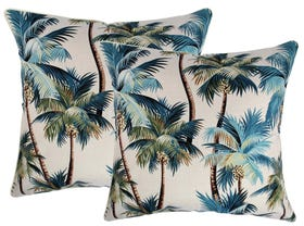 Palm Trees Natural 60cm Outdoor Cushions 2 Pack