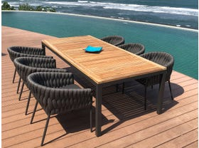 Barcelona Table with Palm Chairs 7pc Outdoor Dining Setting