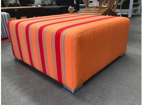 FLOOR MODEL- Cubix Sunbrella Ottoman- 89x89 Brava Salsa / Tangerine