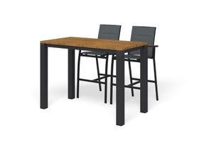 Adele Teak Bar Table with Sevilla Teak Bar Chairs -3pc Outdoor Bar Setting
