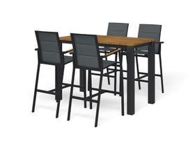 Adele Teak Bar Table with Sevilla Teak Bar Chairs -5pc Outdoor Bar Setting