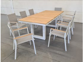 Switch Table with Triana Chairs 9pc Outdoor Setting -SYD ONLY