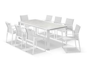 Tellaro Ceramic Table With Meribel Chairs 9pc Outdoor Dining Setting
