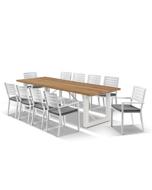 Laguna Table with Mayfair Chairs 11pc Outdoor Dining Setting