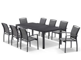 Hague Extension table with Verde  Chairs  - 11pc Outdoor Dining Setting