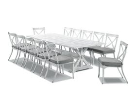 Vogue Table with Valencia Chairs  - 13pc Outdoor Setting