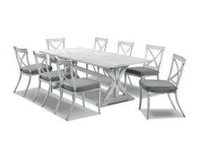 Vogue table with Valencia  Chairs  - 9pc Outdoor Dining Setting