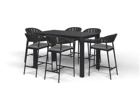 Adele Bar Table with Nivala Bar Chairs -7pc Outdoor Bar Setting