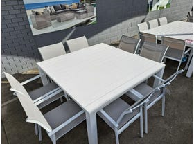 FLOOR MODEL - Adele 148x148cm Table with Crudo Dining Chairs White 9pc