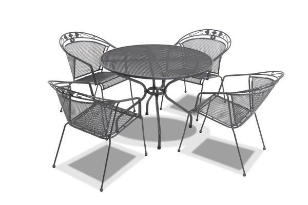 metal mesh patio furniture. Outdoor-dining-steel-mesh-elegance-tavio-round-5pc- Metal Mesh Patio Furniture