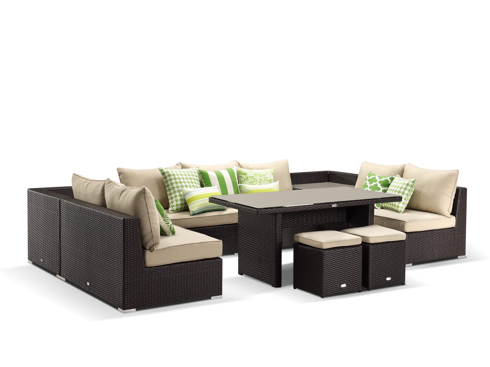 Outdoor Furniture Lounge Wicker Como 8pc Darkbronze Sand