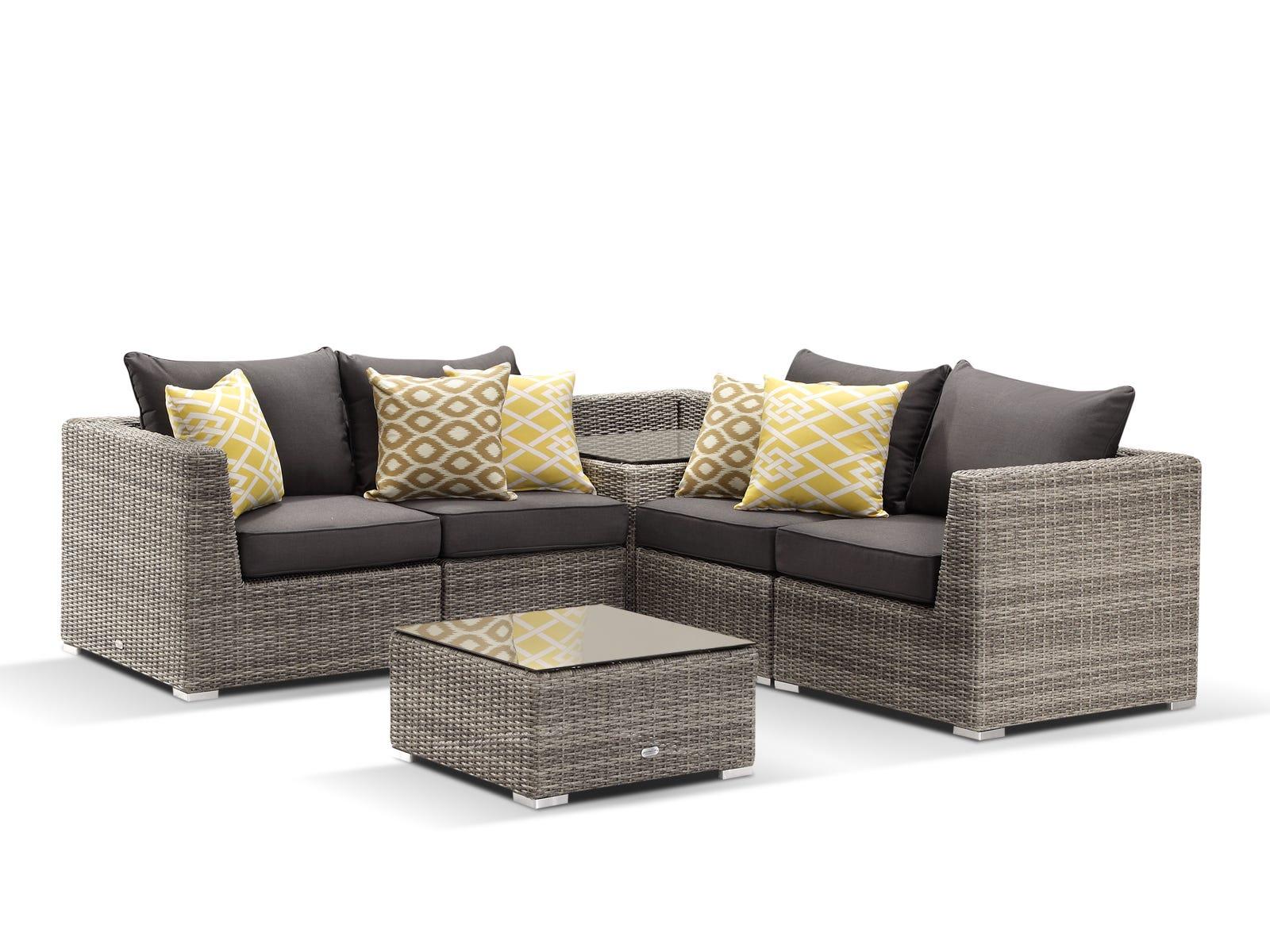 Outdoor furniture lounge wicker sunbrella mateus 6pc moonscape