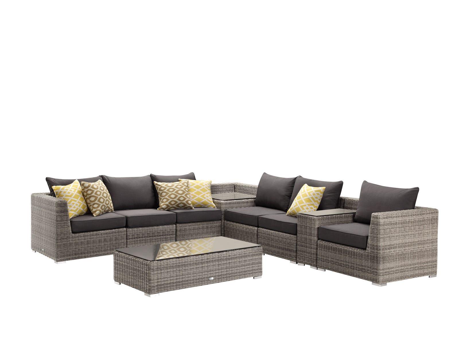 Outdoor furniture lounge wicker sunbrella mateus 9pc moonscape